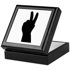 V Sign - Two Fingers Keepsake Box