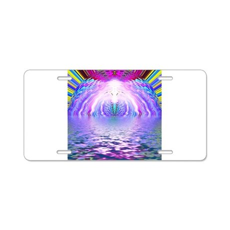 Psychedelic Sunrise Aluminum License Plate