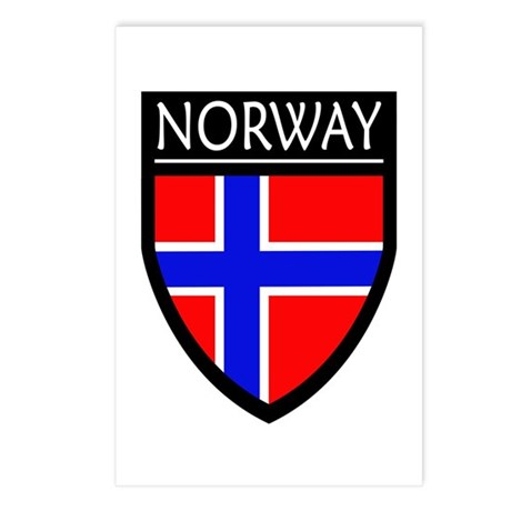 Norway Flag Patch Postcards (Package of 8)