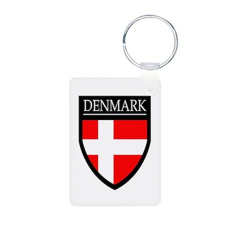 Denmark Flag Patch Aluminum Photo Keychain