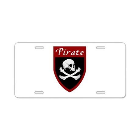 Pirate Red Patch Aluminum License Plate