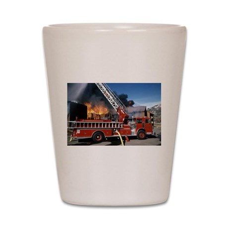 Fire Truck in Action Shot Glass