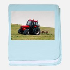 A Red Tractor On The Go baby blanket