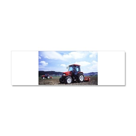 Red Tractor Cloudy Sky Car Magnet 10 x 3