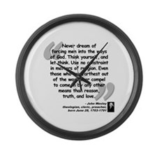 Wesley Religion Quote Large Wall Clock