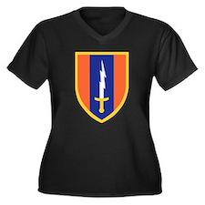 Unique Signal Women's Plus Size V-Neck Dark T-Shirt