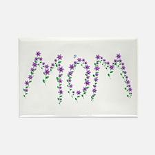 MOM - Purple Flowers Rectangle Magnet
