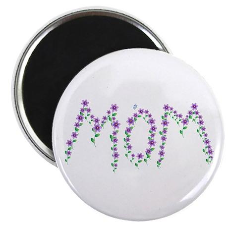 "MOM - Purple Flowers 2.25"" Magnet (10 pack)"