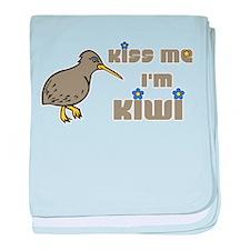Kiss Me I'm Kiwi baby blanket