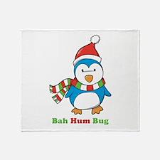 Bah Hum Bug Penguin Throw Blanket