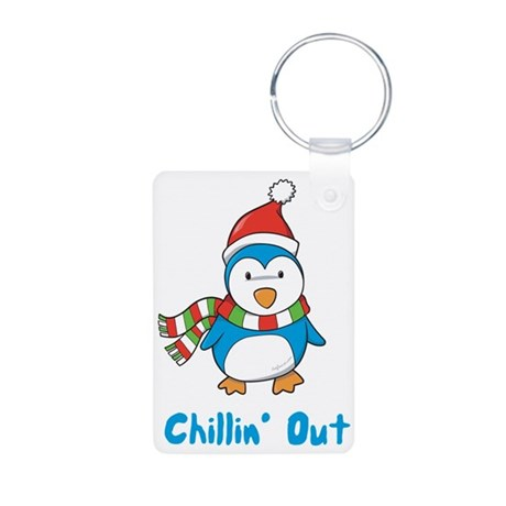 Chillin' Out Penguin Aluminum Photo Keychain