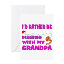 Fishing With Grandpa (Pink) Greeting Card