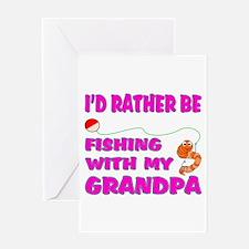 Fishing With Grandpa (Pink) Greeting Card