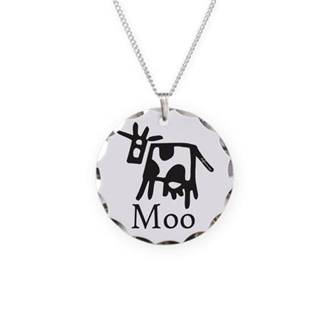 Moo Necklace Circle Charm