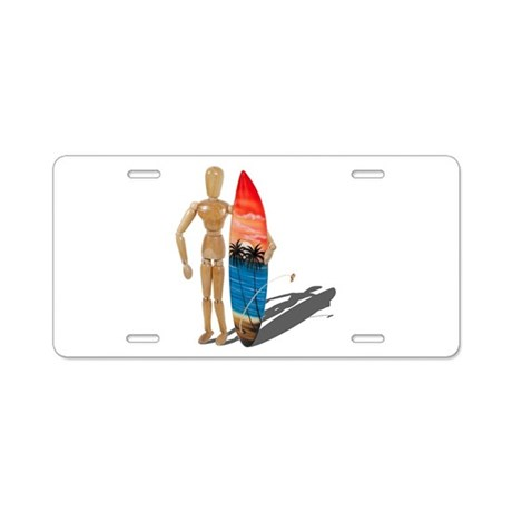 Holding Surfboard Aluminum License Plate