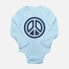 Blue Peace Symbol Long Sleeve Infant Bodysuit