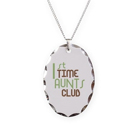 1st Time Aunts Club (Green) Necklace Oval Charm