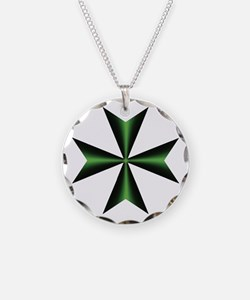Green Maltese Cross Necklace