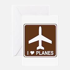 I Love Planes Greeting Card