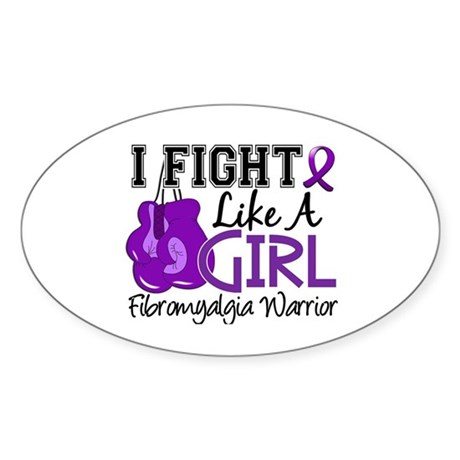Licensed Fight Like a Girl 15.2 Fib Sticker (Oval)