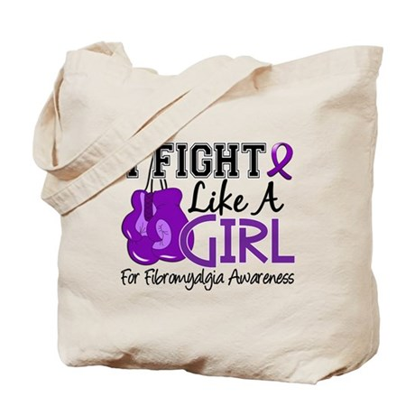 Licensed Fight Like a Girl 15.5 Fibromyal Tote Bag