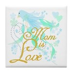 Bluebird Mom is Love Tile Coaster