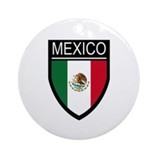 Mexico Flag Patch Ornament (Round)
