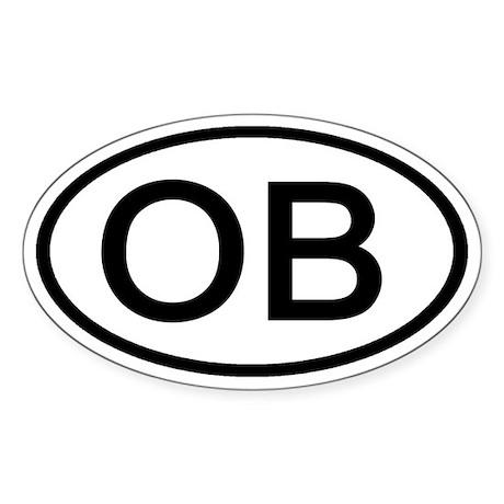 OB - Initial Oval Oval Sticker