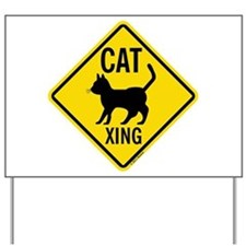 Caution Cat Crossing Yard Sign