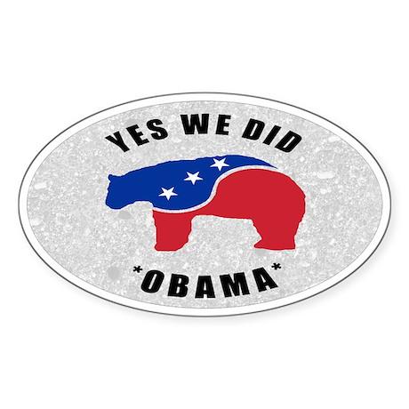 Obama Yes We Did Polar Bear Sticker (Oval)