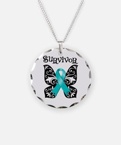 Butterfly Ovarian Cancer Necklace Circle Charm