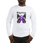 Butterfly Pancreatic Cancer Long Sleeve T-Shirt