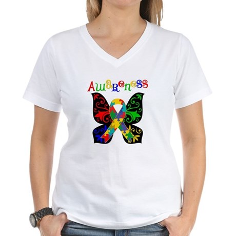Butterfly Autism Awareness Women's V-Neck T-Shirt
