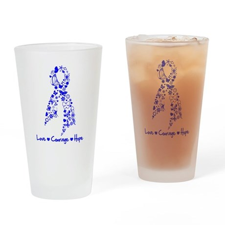 Colon Cancer Love Courage Pint Glass