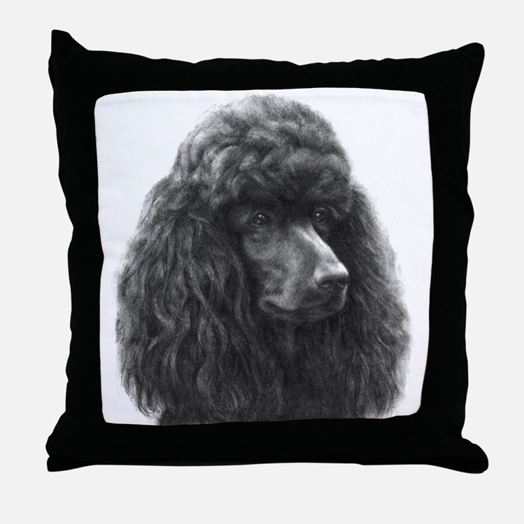 Black or Chocolate Poodle Throw Pillow