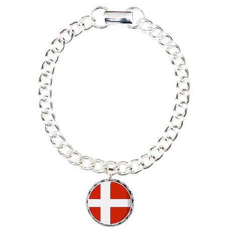 Cool Danish flag designs Charm Bracelet, One Charm
