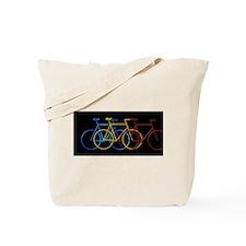 Three Bicycles on Black Tote Bag