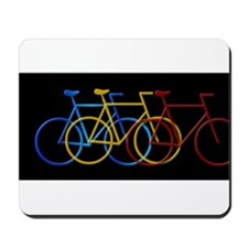 Three Bicycles on Black Mousepad