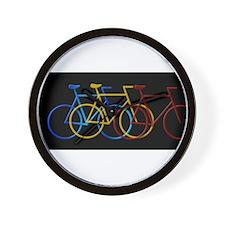 Three Bicycles on Black Wall Clock
