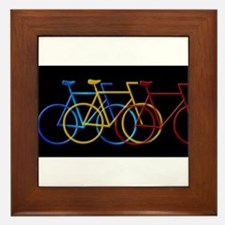 Three Bicycles on Black Framed Tile