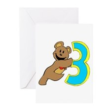 Teddy bear 3 year old Greeting Cards (Pk of 10