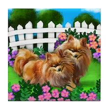POMERANIAN DOGS GARDEN Tile Coaster