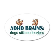 ADHD BRAINS 22x14 Oval Wall Peel