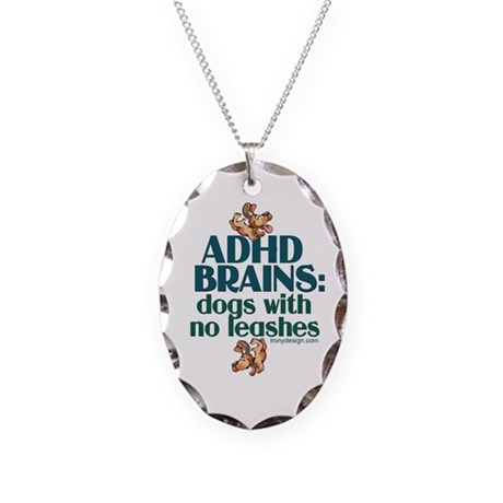 ADHD BRAINS Necklace Oval Charm