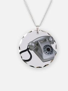 Silver Retro Desk Phone Necklace