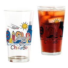 Chicago Cute Kids Skyline Drinking Glass