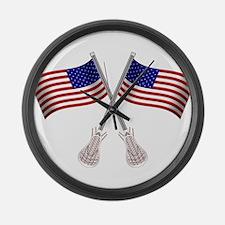 American Flag Lacrosse Large Wall Clock