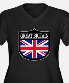 Great Britain Patch Women's Plus Size V-Neck Dark