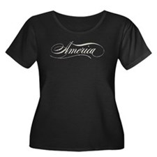 America Script Women's Plus Size Scoop Neck TShirt