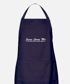 Jesus Loves Me You Not Apron (dark)